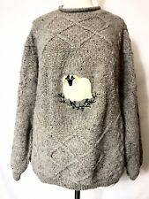 Acorn Women's brown chunky cable knit sheep embroidered pure wool sweater NWOT