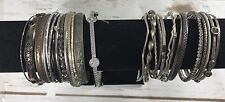 30 Lot Mixed Metals Bangle Bracelets Silver Tone Vintage To Now Varied Styles