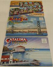 Vintage Postcard Booklet Palm Springs, Catalina Island, Bridges San Francisco