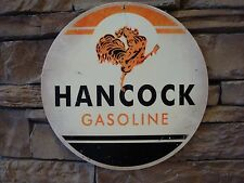 "Hancock Gasoline Motor Oil Metal Sign 14"" Vintage Advertising Gas Pump Rooster"