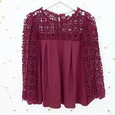 Anthropologie Top Sz Small Purple 3/4 Bell Sleeves Crochet Lace Marigold Floral