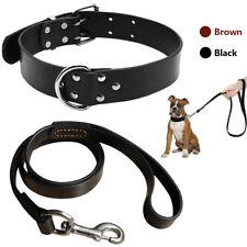 Soft Genuine Leather Dog Collars and Leash Set Heavy Duty For Small to Large Dog