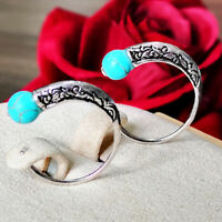 Fashion 925 Silver Turquoise Dangle Ear Hook Boho Round Hoop Jewelry Earrings