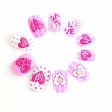 Spots and Hearts Children Fake Nails 20 Pcs Pre-glue Press on Fake Nail Tips