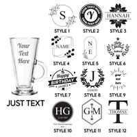 Personalised Engraved Coffee Latte Glass Your Own Text Etched Glassware Gift