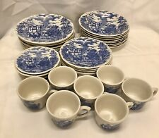 Multisided, Blue Coach Scene by Oxford (Brazil) 5 Piece service for 8