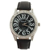 New Fashion Leather Large Numbers Round Dial Men Women's Quartz Wrist Watch U72