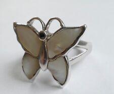 Ring Schmetterling Perlmutt Silber 925 rhodiniert Vintage 80er silver ring