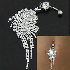 Stylish Silver Plated Crystal Tassel Dangle Navel Belly Button Ring Bar Piercing