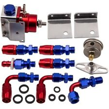 Adjustable Fuel Pressure Regulator KIT + 100psi Guage AN 6 Fitting Red / Blue