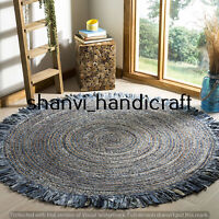 Reversible Round Braided Natural & Multi Colour Denim Jute Cotton Rug Floor Rags