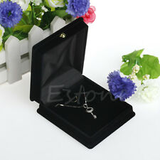 Handy Velvet Necklace Jewelry Display Gift Box Ring Bracelet Storage Case Black