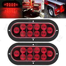 2x Waterproof 10 LED Oval Truck Trailer Stop Turn Brake Tail Light Flange Mount