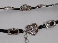 Brighton Vintage Heart Concho Silver Chain Belt with 2 B Logos 41903 Medium