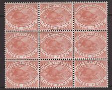 "TASMANIA - 1880 ""PLATYPUS"" 3d CHESTNUT BLOCK OF 9 (3x3) MNH SG.F27 (REF.D67)"