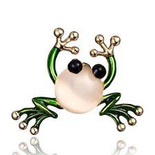 2018 Fashion Green Animal Frog Crystal Brooch Pin Womens Lady Custume Jewellery