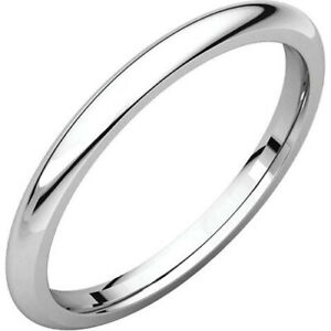 2mm Solid Platinum Plain Dome Half Round Comfort Fit Wedding Band Ring All Sizes