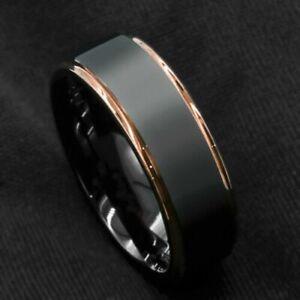 Men's Fashion Black Rose Gold Bronze  Womens Wedding Band Ring R66