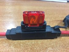 Inline Blade Fuse Holder Maxi Type – 50 AMP 8AWG 8B&S Wire Free 50 AMP Fuse x 1