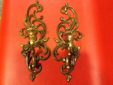 Retro 1970s Syroco Ornate Bright Gold Wall Sconce and Candle Holder, Curly Plast