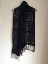 Atmosphere Black Scarf Knit Style Silver Streaks <M813