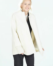 ZARA WHITE ECRU WOOL CAPE COAT WITH KNIT SLEEVES SIZE L - BNWT