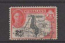 NYASALAND 1945 GEORGE VI 2d BLACK & RED Fine Used