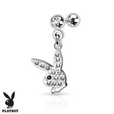 Surgical Steel CZ Cartilage / Tragus Barbell With Dangle Gem Paved Playboy Bunny