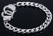 Silver Stainless Steel Handcuff Clasp Flat Link Chain Bracelet Curb Wrist Heavy