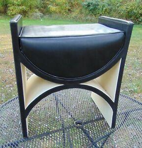 Modern Leather Vanity Stool Black off White U Bench Ottoman MCM