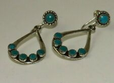 design dangle screwback earrings Vintage Sterling silver Turquoise