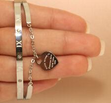 18K White Gold Finish Heart 3 Diamonds 0.15ct Bangle Bracelet Very Elegant