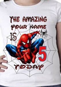 100% COTTON BRAND NEW SPIDER-MAN PERSONALISED KIDS BIRTHDAY T SHIRT ADD NAME/AGE