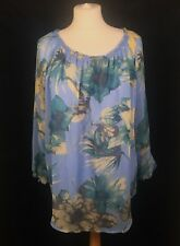 Joe Browns Blue Floral Lined Floaty Summer Peasant Smock Blouse Top (M) 12/14