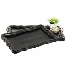 Set of 2 Rustic Black Brown European Vintage Style Wood Serving Trays / Platters