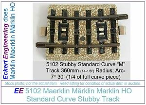 "EE 5102 EXC (VG to Exc) Marklin HO ""M"" Track Stubby Piece Standard Crv 1/4 6Ties"