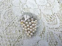 Vintage Grape Cluster Pin Brooch Faux Pearl Silvertone Leaves 2in. x 1 1/4in.