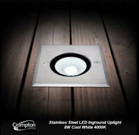 Stainless Steel 8W LED Inground Garden Uplight Square Up Light Cool White 4000K