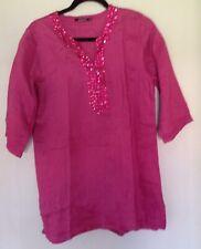Fusia Pink atmosphere - Primark size 16/44 Linen Shirt dress decorated neckline