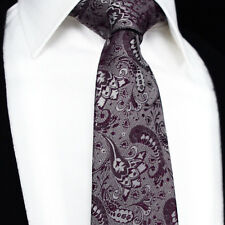 New Mens Formal Wedding Tie - Purple & White - Suit Paisley Silk Modern Classic