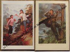 Affiche chinoise,cueillette plantes  en montagne,femme reparant telegraphe ,1978