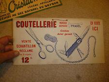 Carton publicitaire COUTELLERIE PRADEL Couteau Tire Bouchon Multilame Ancien
