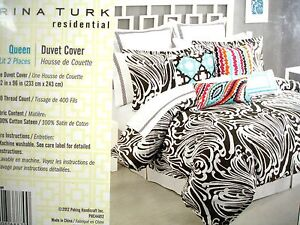 NWT-Trina Turk Queen Duvet Cover-Seafoam - Brown & White Abstract-MSRP $160