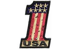 "(B26) USA #1 VINTAGE AMERICAN FLAG 2"" x 3"" iron on patch (3566) Biker vest"