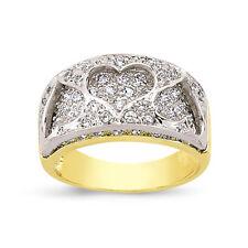 9CT GOLD LADIES CUBIC ZIRCONIA CZ BOMBAY HEARTS ETERNITY WEDDING RING GIFT BOX