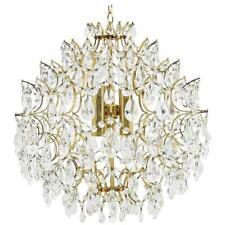Crystal Glass Chandelier 1970s Kronleuchter Swarovski gildet brass Kristall