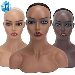 "16.5"" Realistic Mannequin Wig Head Manikin shoulder Bust Stand Display Hair DE-S"
