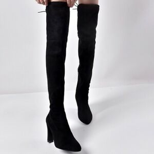 Women Over The Knee Boots Thigh Stretch High Block Heels Pointy Toe Combat Shoes