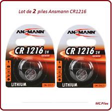 Lot de 2 piles boutons CR1216 lithium Ansmann, livraison rapide et gratuite