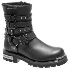 Ladies Black Leather Zip Up Harley Davidson Ankle Biker Boots Eddington